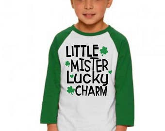 Kids St. Patrick's Day Shirts, Little Mister Lucky Charm, Toddler TShirt, Fine Jersey Tee, Boys Youth Tee, St Patricks Outfit, Kids Clothing