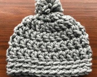 Metallic Gray Crochet Beanie