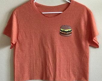 Cheeseburger Crop Top, Orange Crop Top, Burger Patch
