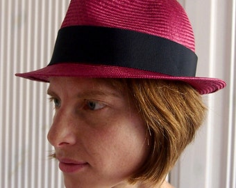 Straw Hat Trilby pink blue