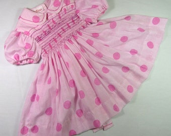 Bby girl's pink polka dot smock dress, baby girls party dress with ribbon ties, hand smocked dress, 9 -12 months