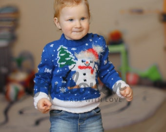 Hand knitted Christmas snowman sweater, Xmas unisex kids jumper, Kids Christmas snowman sweater for children, Boys' snowman Pullover