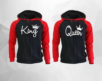 King Queen Hoodies King Queen Raglan Hoodies King Hoodie Queen Hoodie Pärchen Pullover Couple Matching Hoodies Mickey Minnie Hoodies