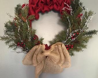 Burlap holiday wreath, Christmas wreath, Holiday wreath