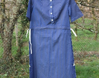 SALE Cute Blue Dress With White Stripes
