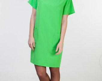 Light green dress with pockets Light green midi dress Short sleeve dress light green office dress Green casual dress