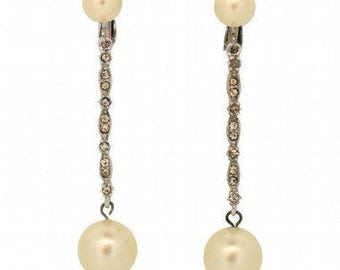 Marvella 1980s Bridal Silver Tone Faux Pearl and Rhinestone Vintage Earrings