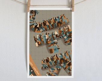 JFK, New York Airport, Digital Illustration, Modern Art Print, People in Airport, Orange Beige Wall Art, Contemporary Art, Urban Wall Decor