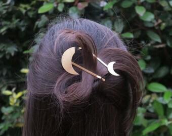 Moon hair clips - boho - gold moon pins - geometric hair clip - boho clips - bohemian hair - sister gift - modern barrette - MAELE