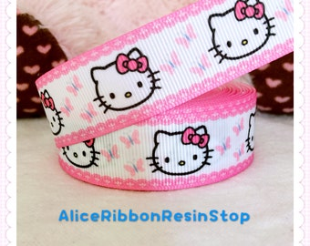 "3 yards 7/8"" Hello Kitty ribbon, cute Kitty ribbon, pink Hello Kitty ribbon, grosgrain ribbon, hair bow ribbon"