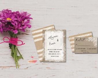 Floral Lace Wedding Invitation, Wedding Invitation With RSVP