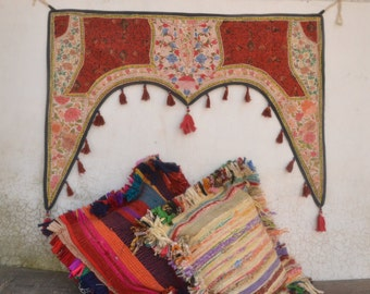 Zari patch work wall decor, indian vintage, exotic tapestry, ethnic door hanging, bohemian wall hanging, boho living, bohemian living, gypsy