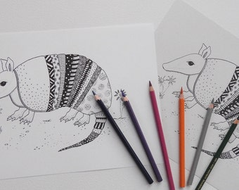 armadillo colouring page adult colouring page adult coloring book color page printable coloring pages adult colouring book