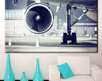 Air Turbine, runway, airplane runway, aircraft engine, aircraft wing,  horizontal art print, travel gift, airplane hangar, print plane