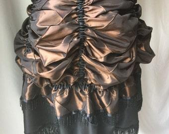 Rich Chocolate Pintucked Taffeta Tie-On Bustle - Versatile Costume Piece for Steampunk-Victorian-Burlesque-CosPlay-Western