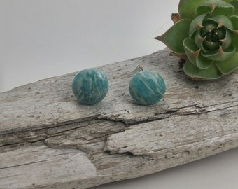 hand carved Amazonite recycled sterling silver earrings, handmade Amazonite studs, 925 recycled sterling silver studs, Amazonite earrings