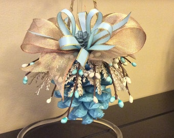 Blue pinecone ornament, spring decor, anniversary gift, Christmas ornament, holiday ornament, spring ornament, pinecone crafts, mother's day