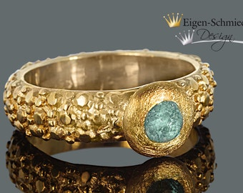 "Silverring, ""frosted"" in 925 sterling silver with a 22 carat gold-plating, present, birthday, marriage, love, engagement"
