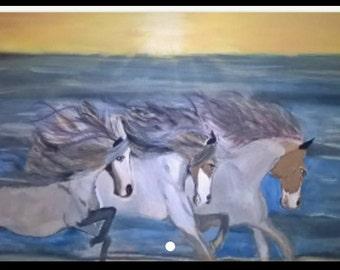 Original Painting, Wild Horses, 16x20