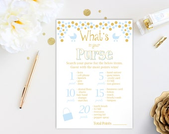 Baby Shower What's in Your Purse Game ~ Blue and Gold Baby Shower Game ~ Baby Boy Pram ~ Printable Game 0024BG