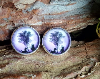 Fantasy round earrings with unicorns, horses, trees in purple and black ring 12mm earring studs