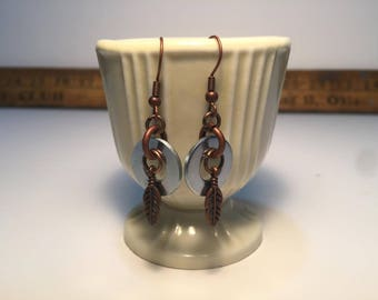 Handmade Copper Toned Washer and Feather Drop Earrings
