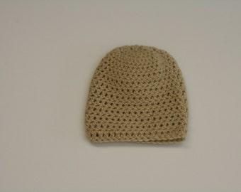 Crochet Adult Winter Beanie Hat- Light Tan. Handmade