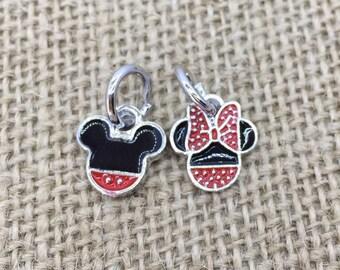 Mickey Minnie dangle charm set for bracelet compatible with pandora bracelet enameled Mickey Minnie charm set