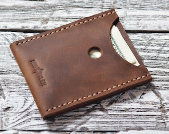 Mens Card Wallet Minimalist Leather Card Wallet Business Card holder Minimalist card case/Gift for father Slim Wallet Groomsmen gift