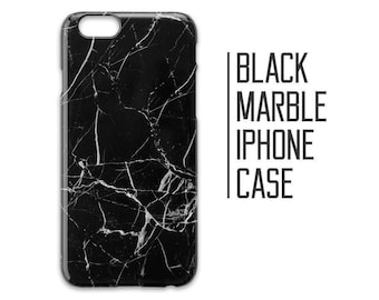 Black Marble Phone Case for iPhone 7 Plus 6 6s 5 5s 5c + Black and White