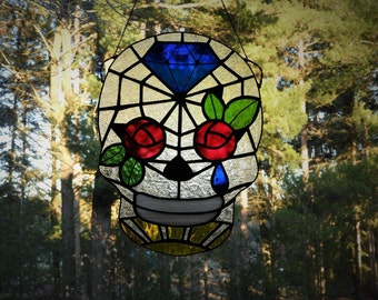 Sugar Skull Dia de los Muertos in Stained Glass: Queen of Diamonds