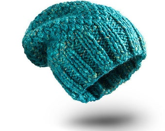 Thick Hat Turquoise Melange II for women beanie hat  chunky hand knit hat