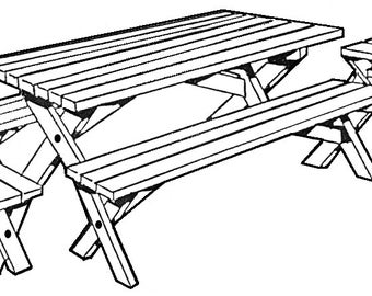 Picnic Three (Table, Long Benches and End Benches)  #163 - Woodworking / Craft Patterns.