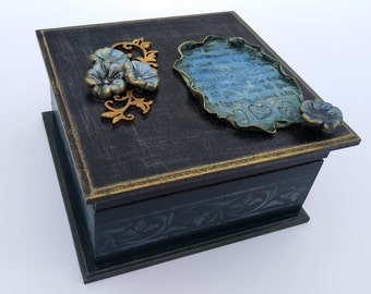 Decoupage Box Jewelry Storage Box Wedding Wishes Box Decoupage furniture Vintage Box wooden box handpainted box Rustic style Elegant gift