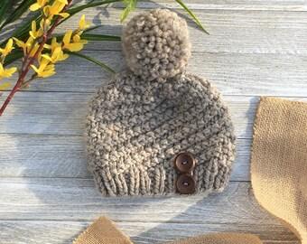 Toddler Girl Hat, Baby Girl Hat, Toddler Knit Hat, Knit Hat with Button, Knit Hat with Pom Pom, Toddler Wool Hat