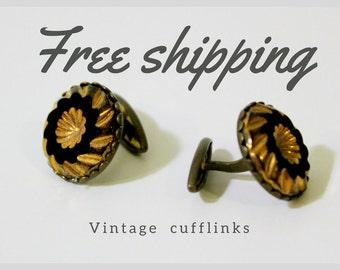 Vintage Cufflinks, black Cufflinks, retro metal Cufflinks, USSR Cufflinks, 50th, 60th Cufflinks, Metal Cufflinks, Soviet vintage cufflinks