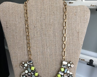 Yellow Gray and Crystal Statement Necklace