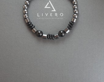 HEMATITE bracelet. HEMATITE bracelet with onyx. HEMATITE beads. Hematite beaded bracelet. Mens hematite bracelet. Hematite bracelet for man