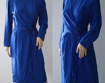 Ravishing 80's Midnight Blue Silk Dress with Embroiled Jewelry