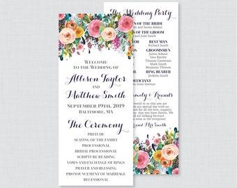 Printable OR Printed Wedding Programs - Floral Wedding Ceremony Program Cards, Colorful Flower Personalized Wedding Program Template 0003-B