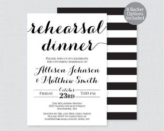 Printable OR Printed Rehearsal Dinner Invitations - Black and White Rehearsal Dinner Invites, Classic Wedding Rehearsal Invitations 0005
