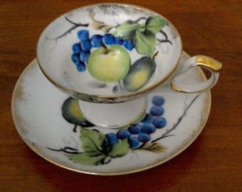 20% off Beautiful Vintage WAKO Hand Painted Tea Cup and Saucer Set // Tea Party Set