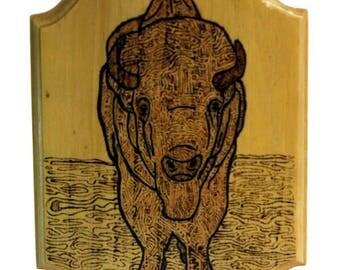Woodburned Bison Plaque