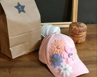 pink baseball hat with felt flowers