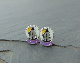 Small Cute Haunted House Halloween Sparkle Earrings