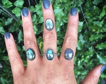 Silver Labradorite Ring / Sterling Silver Ring / Large Labradorite / Big Labradorite / Rainbow Labradorite / Mermaid Ring / Made to Order