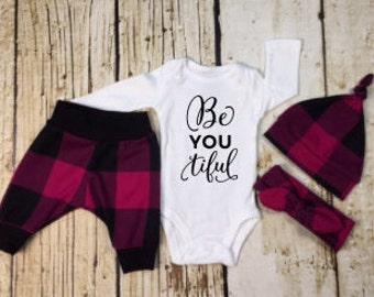 Newborn Girl coming home outfit,baby girl clothes, beyoutiful, fuchsia plaid,plaid,woodland,newborn