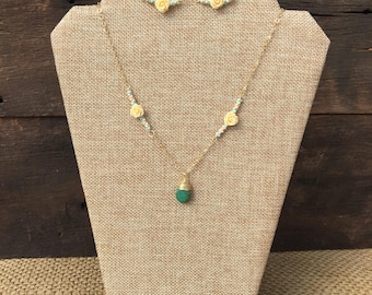 Green drop and Roses Necklace