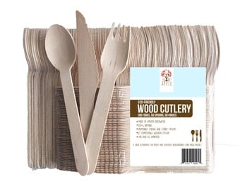 "Wooden Disposable Cutlery 200pc, 100 Forks,50 Spoons,50 Knives, 6"" Length Eco-Friendly Composted Biodegradable Birchwood"