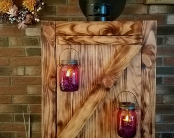 Wood Barn Door Sconce/ Wall Hanging